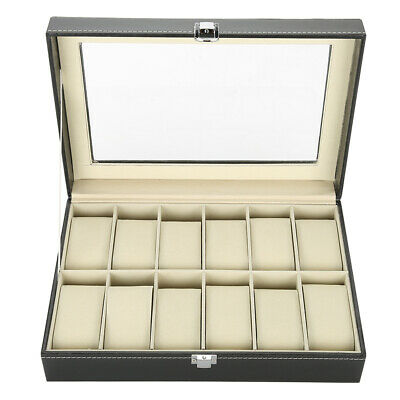 $ CDN34.10 • Buy Watch Display Case 12 Grids PU Leather Luxury Watch Box Large Capacity Elegant