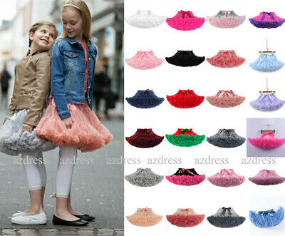 UK Girls Kids Tutu Skirt Dance Tutu Petticoat Party Dress Ballet Fluffy Layer • 11.99£