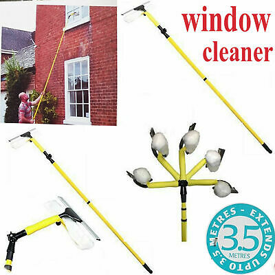 3.5m Window Cleaner Telescopic Conservatory Glass Cleaning New Kit Squeegee Pole • 188.99£