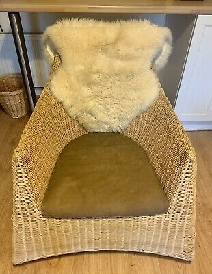 Ikea Wicker Rocking Chair AND Sheepskin Throw, VG Condition • 45£