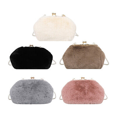 $ CDN17.66 • Buy Autumn Clip Women Shoulder Crossbody Bag Pearl Chain Solid Plush Handbags