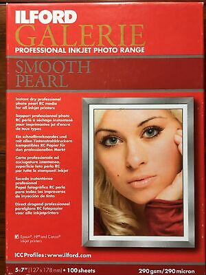 Ilford Galerie Professional Inkjet Photo Range Smooth Pearl Paper 5x7 100 Sheets • 17.37£