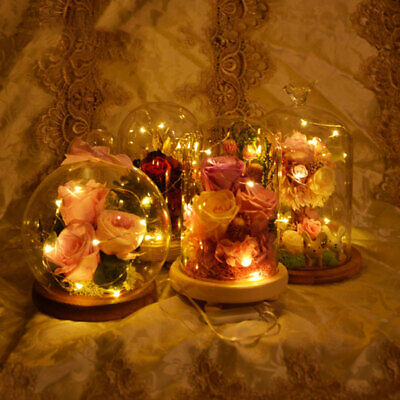 £14.34 • Buy Glass Round Bell Cloche Dome Jar LED Light Up Wedding Display Ornament Wood Base