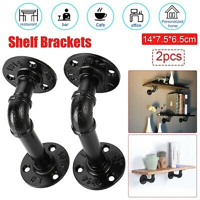 £4.99 • Buy 2Pcs Pipe Shelf Brackets Industrial Iron Rustic Wall Floating Shelves Supports