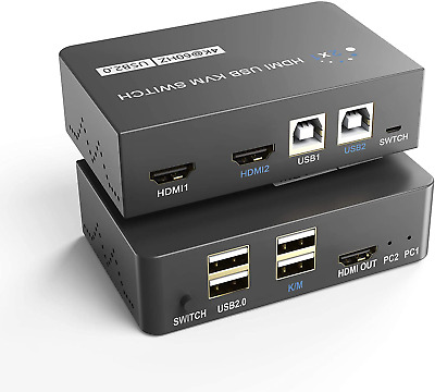 £33.59 • Buy Pubioh KVM Switch HDMI 2 Port USB Switch 4K60Hz HDMI Switcher Box 2 IN 1 Out For