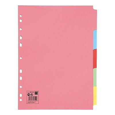 £1.98 • Buy 5-20 Subject File Filing Dividers Folder - Multi Colour A4 Punched Index Sheets