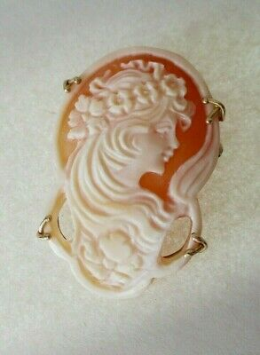 $269.99 • Buy 14k Yellow Gold M&m Scognamiglio Carved Shell Cameo Pin Pendant Italy