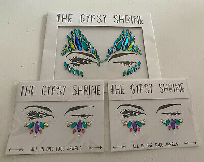 The Gypsy Shrine Face Jewels Body Adhesive Glitter Stickers Face Gems X 3 • 5£