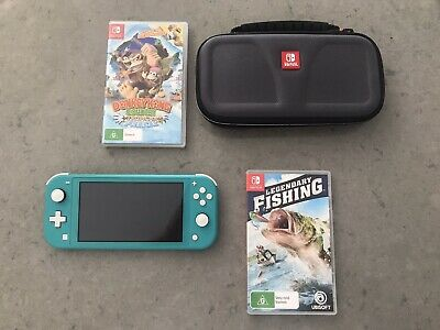 AU150 • Buy Nintendo Switch Lite Turquoise - Donkey Kong And Legendary Fishing Games