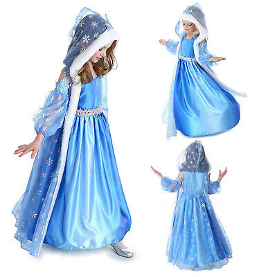 £11.99 • Buy Girls Elsa Fancy Dress Up Fairytale Princess Cosplay Party Costume Prom Outfit