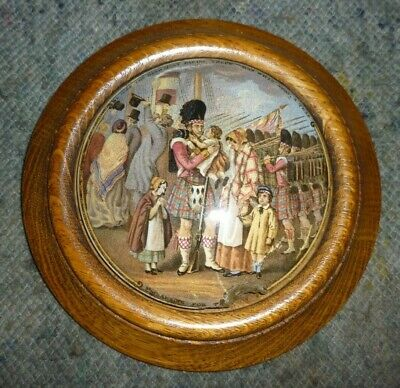 £30 • Buy Large Victorian Wooden Framed Pot Lid Called Embarking For The