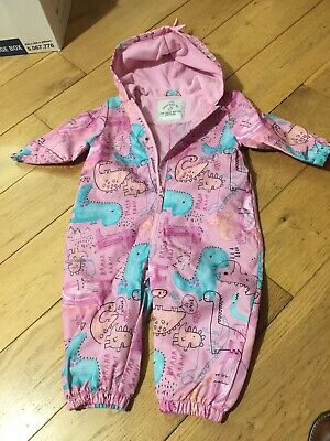 Baby Girls Puddle Splash Suit 12-18 Months Dinosaur  Girls Fleece Lined Hood • 4.90£