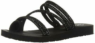 Skechers Women's Meditation-Glam Flash-Rhinestone Toe, Black/Black, Size 6.0 • 17.99£