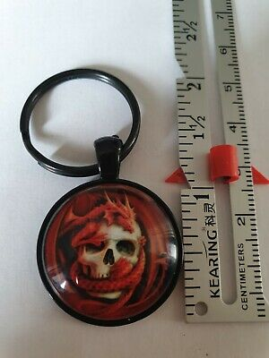 RED DRAGON AND SKULL KEYRING (black Back) - BIRTHDAY ? • 1.79£