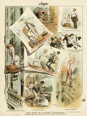 Hotel Fire Escape A Rope For Every Room The Rope Act Of New York 1887 Cartoon • 47.03£