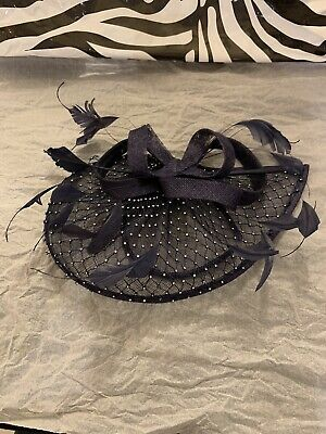 Midnight Blue Diamanté Fascinator With Feathers. • 4.30£
