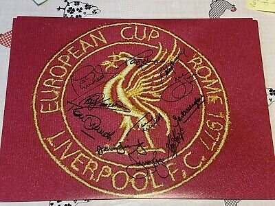 £150 • Buy Liverpool Fc 1977 European Cup Final Shirt Badge 16x12 Photo Signed By 11