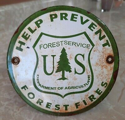 $ CDN149.07 • Buy Vintage U.s. Forest Fire Service Porcelain Sign Rv Camping Fishing Hunting