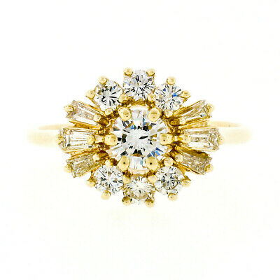 AU1563.71 • Buy 14k Yellow Gold .91ct Round Brilliant & Baguette Diamond Cluster Engagement Ring