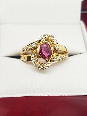 AU1900 • Buy Natural Ruby And Diamond  Ring 18ct Yellow Gold Preloved VAL $3000