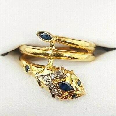 AU1190 • Buy 18ct Yellow Gold Sapphire And Diamond Snake Ring VAL $1800
