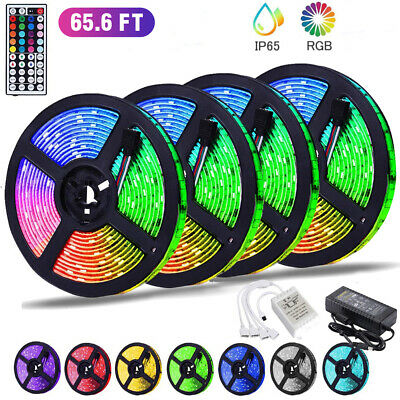 $11.88 • Buy 65FT Flexible Strip Light 3528 RGB LED SMD Remote Fairy Lights Room TV Party Bar