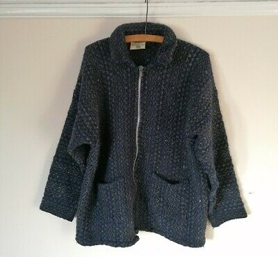 Vintage 90s Pachamama Wool Green Blue Hand Knit Zip Cardigan Jacket L Equador  • 30£