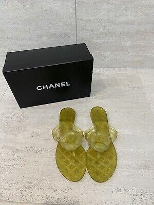 £283.94 • Buy Chanel Women's Jelly Flip Flops - YELLOW - With Camellia Flower Size 39-40