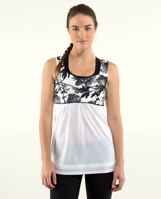 $ CDN6.33 • Buy Lululemon Tame Me Tank Top Womens 6 White Black Floral Toggle Waist Pleated
