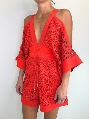 AU129 • Buy ALICE MCCALL Keep Me Playsuit Romper Lace Red Size 6 Short