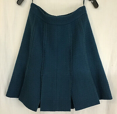 £318.60 • Buy Chanel Skirt Short Teal Wool Tweed Flapper Style Pleated  08 A Size 40/6
