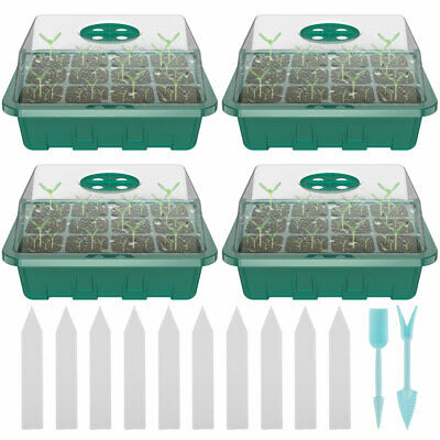 5/4x 12Cell Seed Trays Set Seedling Starter Tray Germination Plant Pots Grow Box • 7.99£