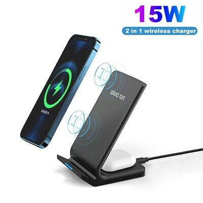 $ CDN17.49 • Buy 15W Qi Fast Wireless Charger Charging Dock Stand For AirPods IPhone 12 Pro 11 XS