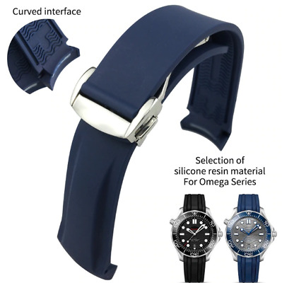 £17.01 • Buy Silicone Watch Bands For Omega Seamaster 300 Speedmaster Strap Brand Watchband