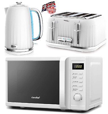 £179.99 • Buy BREVILLE Kettle 4 Slice Toaster & Comfee Microwave Matching White Kitchen Set UK