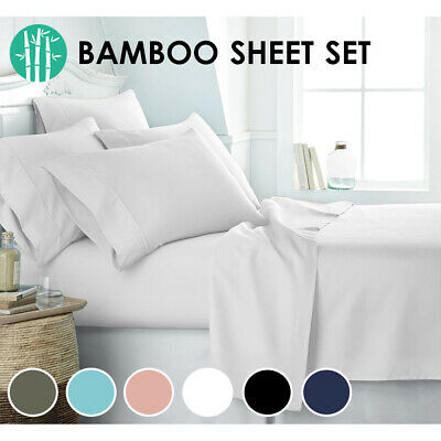 AU39 • Buy 2000TC Bamboo Cooling Sheet Set Ultra Soft Breathable Flat Sheet Fitted All Size