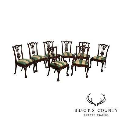 $1895 • Buy Chippendale Style Carved Solid Mahogany Set 8 Dining Chairs