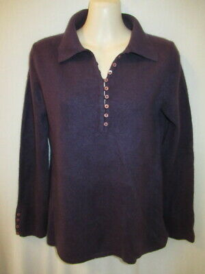 $13.95 • Buy Sutton Studio 100% Cashmere Polo Collar Purple Sweater M May Fit Petite PS