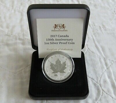 CANADA 2017 1oz .9999 SILVER MAPLE 5 DOLLAR REVERSE PROOF WITH PRIVY - Boxed/coa • 49.95£