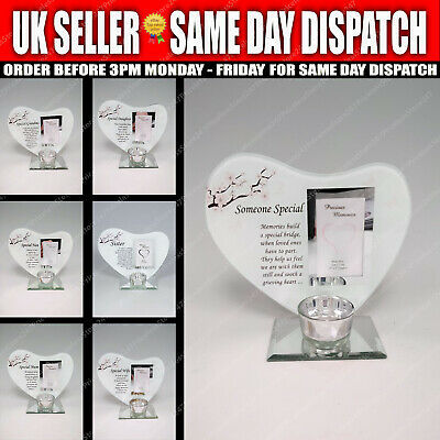 £12.45 • Buy Special Memorial Heart Message Glass Plaque Photo Frame Tealight Candle Holder