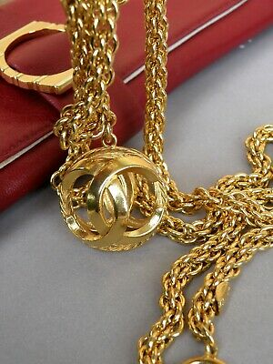 £884.99 • Buy Chanel Necklace Vintage Golden Chain Long With Fabulous Pendant
