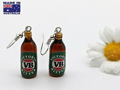 AU8.95 • Buy 3D Vintage Miniature VB BEER Bottle Style Drop Novelty Earrings Dress Accessory