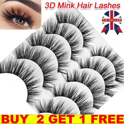 5Pair 3D Mink False Eyelashes Wispy Cross Long Thick Soft Fake Eye Lashes  UK • 4.99£