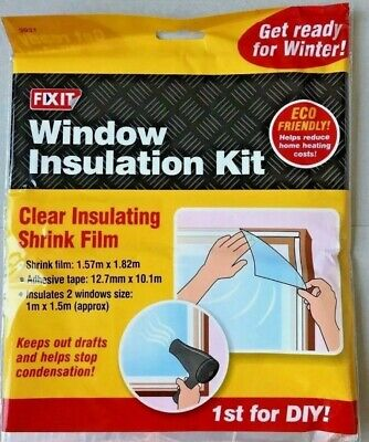 £3.49 • Buy Window INSULATION KIT Shrink Fit DOUBLE GLAZING Film Cold DRAUGHT EXCLUDER FROST
