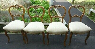 £325 • Buy Very Pretty Victorian Set Of Four Walnut Cabriole Leg Balloon Back Dining Chairs