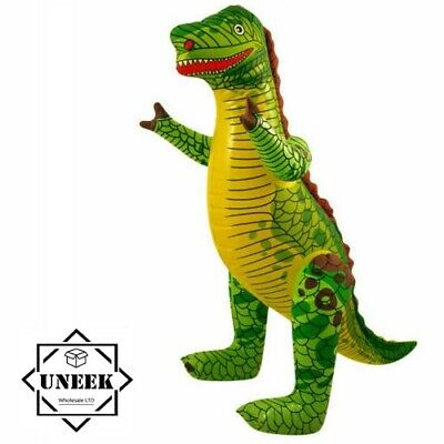 £6.60 • Buy 2x LARGE INFLATABLE DINOSAUR Blow Up T-Rex Toy Dino Kids Party Decor  90cm UK