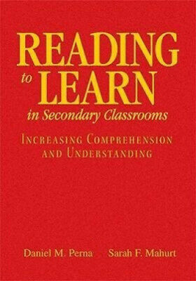 £44.52 • Buy Reading To Learn In Secondary Classrooms: Increasing Comprehension And