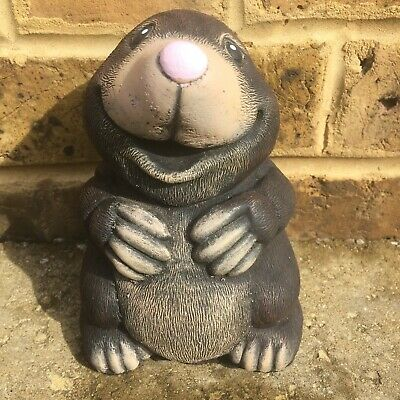 £16.99 • Buy Happy Mole Standing Hand Cast And Painted Reconstituted Stone Garden Ornament