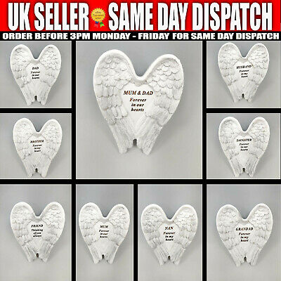 £7.99 • Buy Small White Silver Angel Wings Plaque Grave Stone Decoration & Verse Memorial