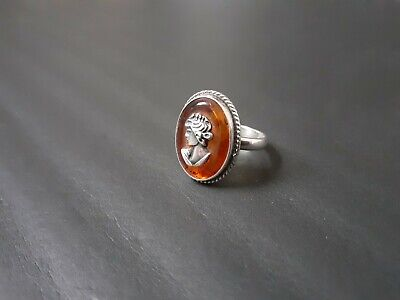 £38 • Buy Vintage Amber Cabochon Sterling Silver Ring Cameo Style - Size N